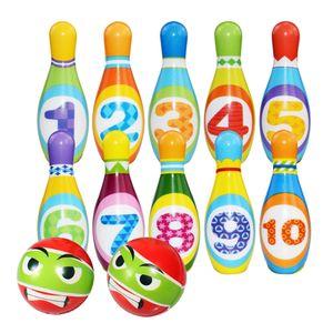 Bowling Kinder Set Mini Kegelspiel für Kinder mit 10 Kegel und 2 Bowling Bällen Pädagogische Spielzeug, 12 Stück