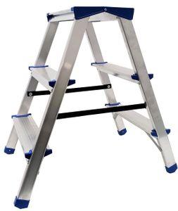 Alu Doppelstufenleiter - Aluminium Leiter - Trittleiter Bockleiter Haushaltsleiter Klappleiter Klapptrittleiter - , EN 131 - bis 150 Kg (3 Stufen - 60 cm)