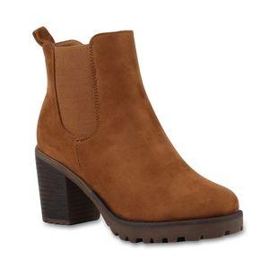 Mytrendshoe Damen Stiefeletten Blockabsatz Chelsea Boots Profilsohle 76870, Farbe: Hellbraun, Größe: 37