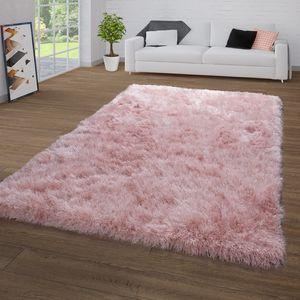 Hochflor-Teppich Für Wohnzimmer, Shaggy Mit Glitzer-Garn, Einfarbig In Rosa, Größe:140x200 cm
