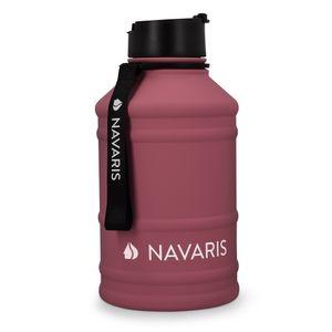 Navaris 2,2 Liter Fitness Trinkflasche - XXL Flasche Gym Bottle - Sport Wasserflasche Water Jug - stabile Sportflasche aus Edelstahl - BPA frei