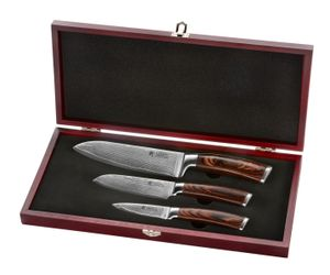 Wakoli Edib 3er Damastmesser-Set Klingenlängen von 8,50 cm bis 17,00 cm mit Pakkaholzgriffen braun