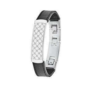 JOOP! Armband 2024505 Edelstahl Leder schwarz 24 cm