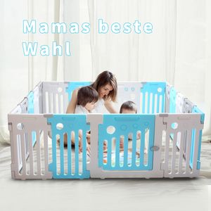 LONTEK Laufgitter Laufstall Baby erweiterbar 16+2 Paneelen aus Umweltfreundlicher Kunststoff mit Tür und Spielzeug Absperrgitter Krabbelgitter Schutzgitter für Kinder