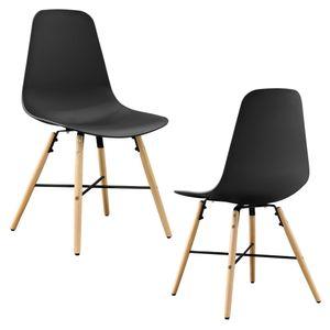 [en.casa] 2er-Set Esszimmerstuhl schwarz Kunststoff Essgruppe Stuhl Design Retro