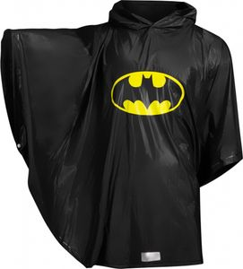 Baagl Kinder Regenponcho - Regencape mit Kapuze und reflektiven Elementen - Regenmantel für Jungen ab 130cm (Batman)