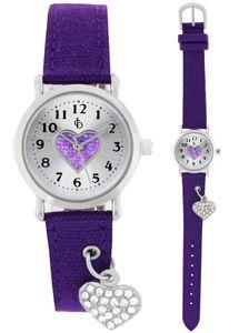 Crystal blue Armbanduhr für Mädchen mit Anhänger Herz Charme am Armband violett