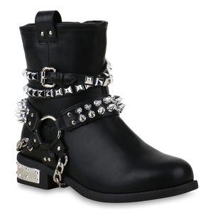 Mytrendshoe Damen Stiefeletten Biker Boots Leicht Gefütterte Stiefel Nieten 825583, Farbe: Schwarz, Größe: 36