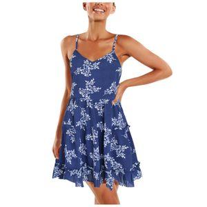 Damen personalisierte Mode Sexy Print Open Back Hosenträger Kleid Größe:XL,Farbe:Blau