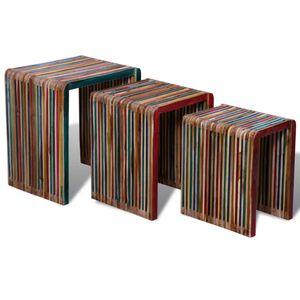Satztisch-Set 3-tlg. Beistelltisch Sideboard Bunt Recyceltes Teak