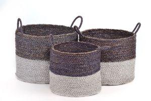 AUFBEWAHRUNGSKORB Flechtkorb RUND in 3 GRÖßEN Seegras Korb Box mit Henkel in grau / braun & weiß Korb-Set Aufbewahrungsbox, Größe:Größe 1