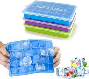 Morfone Eiswürfelform,3 Stück Silikon Eiswuerfel Form Eiswuerfelbehaelter Mit Deckel Ice Cube Tray, Eiswürfelformen Eiswürfel Form, LFGB , 24-Fach