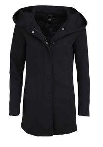 ONLY Damen Langarm Mantel Kapuze Reißverschluss Druckknüpfe schwarz Größe XL