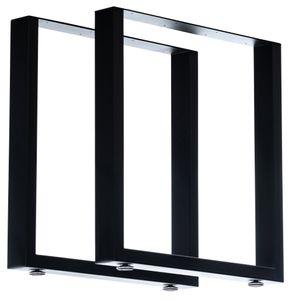 CLP 2er Set Tischbeine Velden aus Vierkantprofilen, Farbe:schwarz, Größe:70 cm