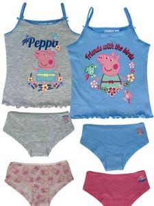 Peppa Wutz - Mädchen Vorteils Package Peppa Pig bestehend aus 2x Unterhemden + 4x Unterhosen - , Farbe:Rosa. Weiß. Grau & Blau, Größe:98/104