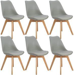 HJ 6er set Skandinavischen Retro Design Gepolsterter Stuhl Kunststoff PP Esszimmerstühle mit Massivholz Buche Bein grau