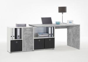 FMD furniture Winkelschreibtisch in Beton / weiß Tisch 136 x 75 x 68 cm, Regal 137 x 71 x 33 cm Computertisch für Gaming, Büro oder Arbeitszimmer