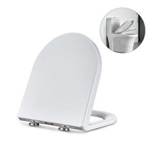 Toilettendeckel WC Sitz D Form Klodeckel mit Quick-Release-Funktion und Softclose Absenkautomatik. Klo Deckel abnehmbar Toilettensitz, Antibakteriell Toilettendeckell, Einfach zu Installieren.