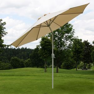 Sonnenschirm N18, Gartenschirm, Ø 2,7m neigbar Polyester/Alu 5kg  creme