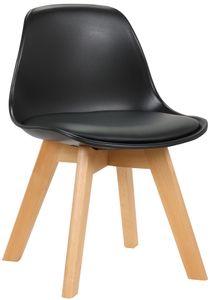 CLP Kinderstuhl Lindi Kunstlederbezug und Gestell aus Buchenholz, Farbe:schwarz