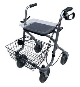 Drive Medical Migo 2G Rollator silber 190/50 mit Einhandbremse links   inkl. Korb, Tablett und Stockhalter