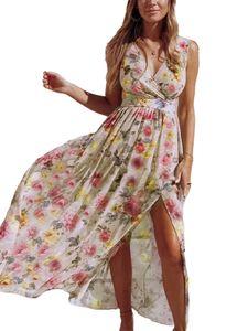Damen Beach Blumendruck Boho Chiffon Ärmelloses Maxikleid Sommerlanges Kleid,Farbe: Geld,Größe:M