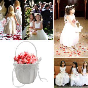 Hochzeitsblumenmaedchenkorb Niedlicher Bowknot-Blumenentwurf Romantischer Hochzeitsblumenkorb