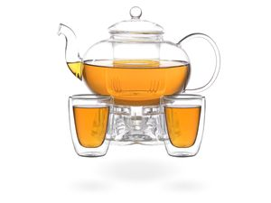 Melina Teeset / Teeservice / Teekanne Glas 1,8 liter mit Sieb, Stövchen und 2 doppelwandige Teegläser je 200ml