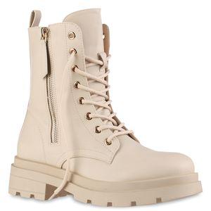 VAN HILL Damen Leicht Gefütterte Schnürstiefeletten Profil-Sohle Schuhe 837860, Farbe: Beige, Größe: 38