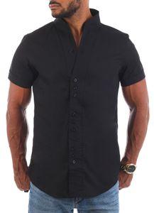 Carisma Herren Uni kurzarm Stehkragen Hemd Freizeit Casual einfarbig Basic Shirt körperbetont 9118 / 9119 , Grösse:XXL, Farbe:Schwarz