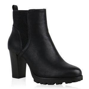 Mytrendshoe Gef?tterte Chelsea Boots Damen Block Absatz Stiefeletten 812569, Farbe: Schwarz, Größe: 39