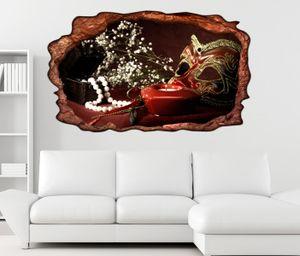 3D Wandtattoo Maske Boudoir retro Stillleben selbstklebend Wandbild Tattoo Wohnzimmer Wand Aufkleber 11L2299, Wandbild Größe F:ca. 162cmx97cm