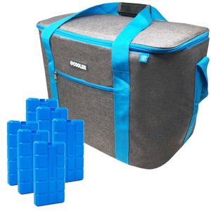 ToCi 36 Liter Kühltasche Isoliertasche Dunkelgrau Thermotasche Picknicktasche Kühlbox mit 6er-Set 200ml Kühlakkus Kühlelemente