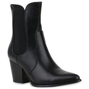 Mytrendshoe Damen Stiefeletten Cowboy Boots Leicht Gefütterte Western Stiefel 831832, Farbe: Schwarz, Größe: 37