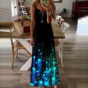 Damenmode Loose Luminous Print Ärmelloses Casual Vest Long Dress Größe:XXL,Farbe:Schwarz