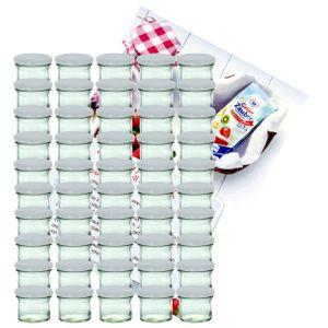 50er Set Sturzglas 125ml Marmeladenglas Einmachglas Einweckglas To66 weißer Deckel incl. Rezeptheft