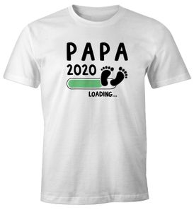 Herren T-Shirt Papa Opa Onkel 2020 loading Geschenk für werdenden Papa Geschenk Geburt Baby Moonworks® weiß-schwarz M