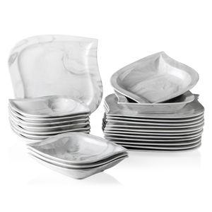 MALACASA, Serie Elvira, Marmor Porzellan Essservice 24 tlg. Kombiservice Tafelservice Set Geschirrset Teller Set mit 12 Speiseteller und 12 Suppenteller