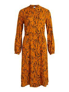Vila Damen Kleid Freizeitkleid Sommerkleid Abendkleid, langarm , Farbe:Gold, Größe:40