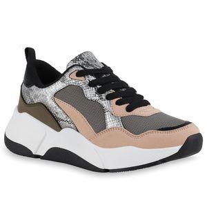 Mytrendshoe Damen Plateau Sneaker Freizeit Schnürer Keilabsatz Prints Schuhe 836078, Farbe: Tan Olivgrün Silber Snake Metallic, Größe: 39