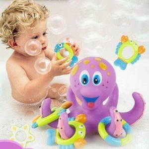 Schwimmender Krake Oktopus mit 5 Hoopla-Ringen, Kinder Wasser Bad Dusche Spielzeug Kinder Badespielzeug Interaktives Spielzeug