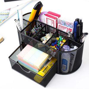 Schreibtischorganizer mit 9 Fächern Mesh Büroausstattung Ordnungssystem Ablagebox Stiftehalter Schwarz