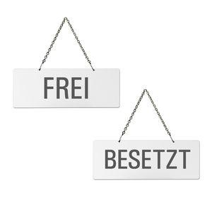 Hängeschild | Wendeschild Frei Besetzt | Melamin  weiß  | Format 175x65 mm