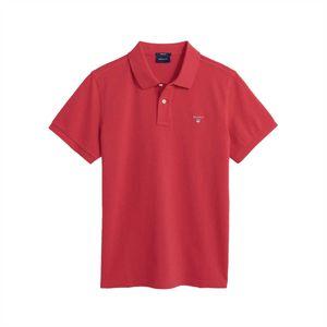 GANT Herren Poloshirt - PiqueSS RUGGER, Halbarm, Knopfleiste, Unifarben Kardinalrot L