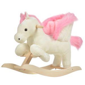 HOMCOM Kinder Schaukelpferd Baby Schaukeltier Pferd mit Tiergeräusche Spielzeug Haltegriffe für 18-36 Monate Plüsch Weiß+Rosa 70 x 28 x 57 cm