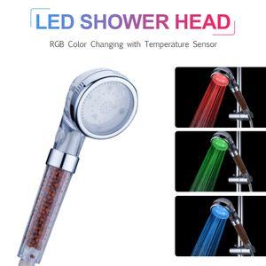 LED-Handbrause LED-Duschkopf-Ionenfilter Automatisch RGB-Farbwechsel-Temperatursensor Keine Batterien erforderlich Spruehduschkopf fuer Badezimmer