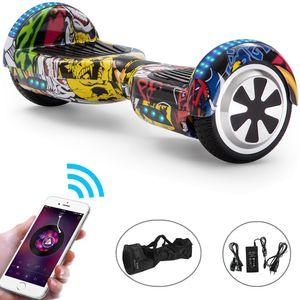 Hoverboard 6,5 Zoll Hip-hop Bluetooth Selbst Balance Board LED Skateboard mit Bluetooth Lautsprecher Elektroroller LED-Leuchten für Kinder und Erwachsene