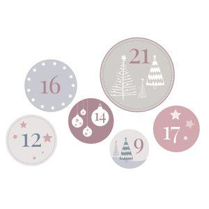 24 XL Adventskalender Zahlen, 6 cm Aufkleber, für DIY Weihnachtskalender zum Befüllen, für Papier Säckchen Tüten zur Befüllung,  Zubehör Kalender Weihnachten