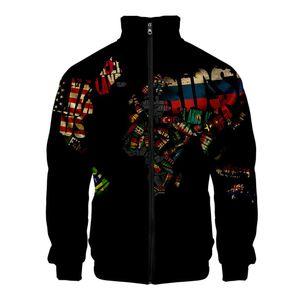 Paar 3D-Druck Langarm Reißverschluss Cardigan Mantel Stehkragen Tops Jacke Größe:L,Farbe:Beige