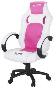 Bürostuhl Racing Gamingstuhl ELITE MG-100 Schreibtischstuhl Dreh Gaming Stuhl Spor... (Weiß/Pink)